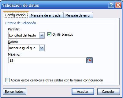 Validación para controlar la longitud del texto