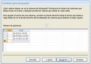 Asistente de búsqueda para sustitucion de tablas con pocos registros