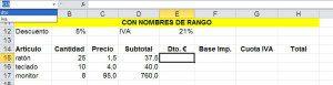 Nombres de rango disponibles en una hoja de cálculo