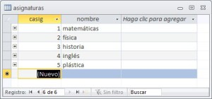 Tabla auxiliar de Access con datos