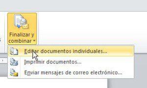 Combinar correspondencia en documento final