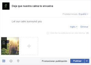 Ejemplo de publicacion en varios idiomas en Facebook