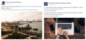 Ejemplo de fanpages que no publican en varios idiomas en Facebook de la forma correcta