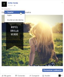 Publicacion en varios idiomas en Facebook desde la vista de administrador