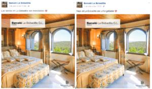 Publicaciones en Facebook en español e ingles con un minuto de diferencia