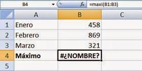Error #¿NOMBRE? de Excel