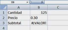 Error #VALOR! de Excel
