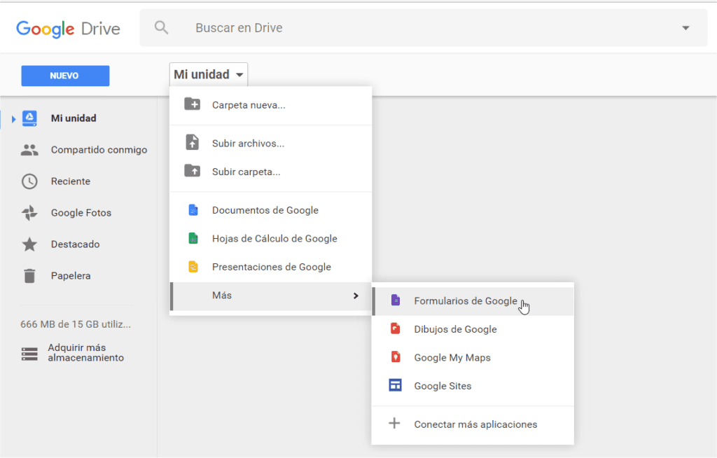 Acceso a Google Forms desde Drive