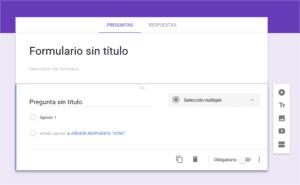 Creación de un nuevo formulario con Google Forms