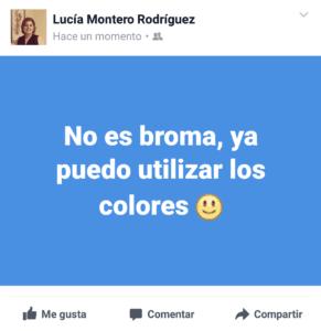 Publicación en Facebook con color de fondo