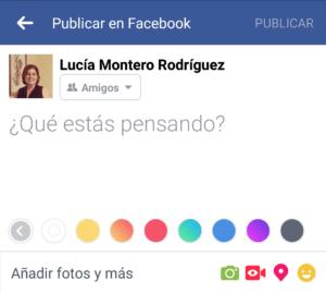 Publicar en Facebook con color de fondo