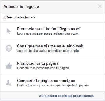Opciones para anunciar tu negocio en Facebook