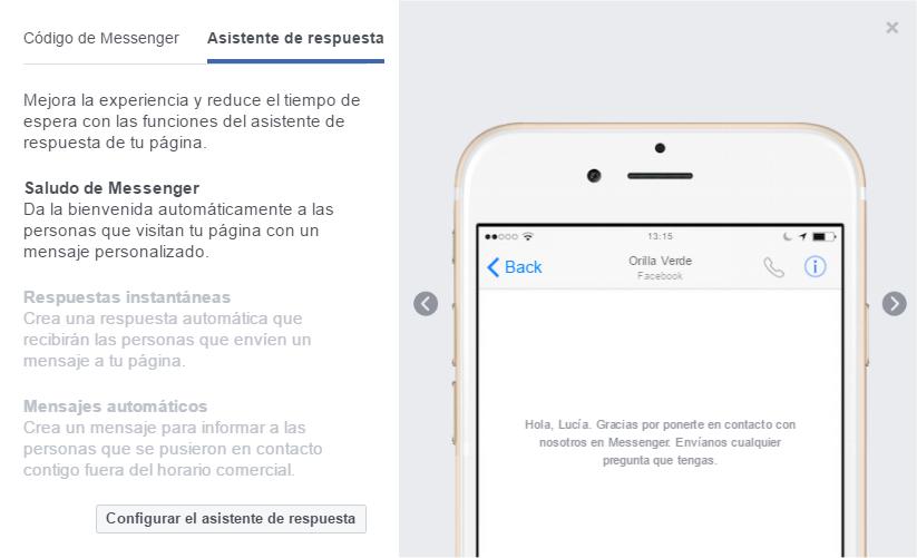 Configuración del asistente de respuesta de Facebook