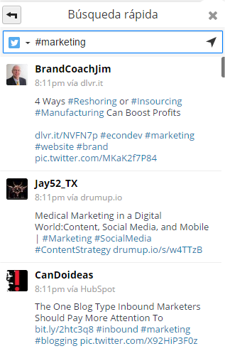 Resultados generales al buscar marketing en Twitter