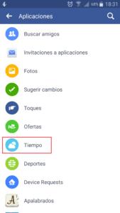 Aplicación de tiempo para Facebook