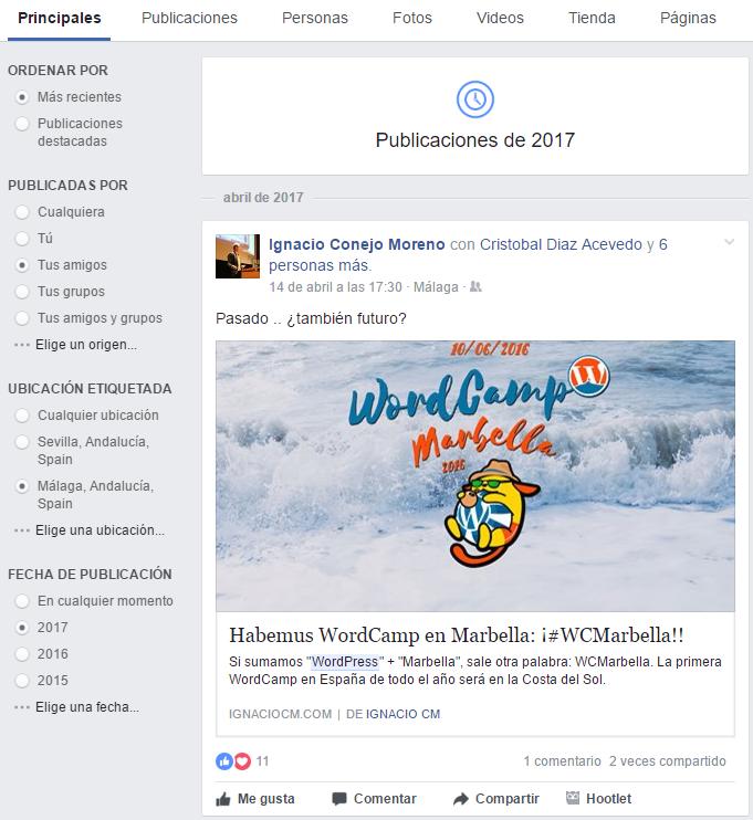 Buscar en Facebook con filtros avanzados