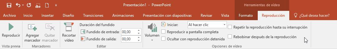 Cinta de Reproducción de vídeos en PowerPoint