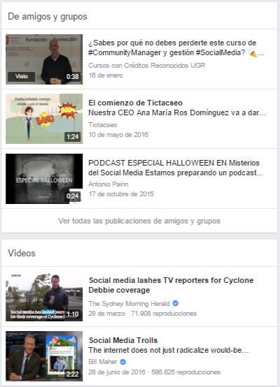 Resultados al buscar vídeos de social media en Facebook