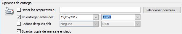 Opciones de entregar para programar el envío de emails en Outlook