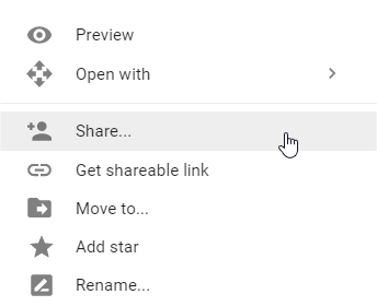 Opciones para compartir en Drive con el menú contextual
