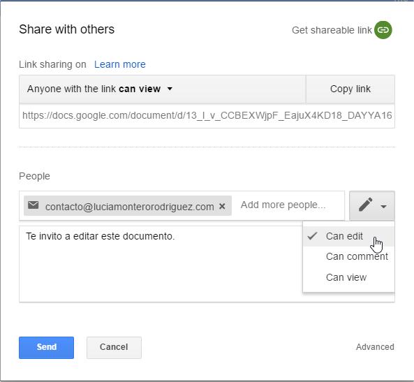 Opciones para compartir un documento con otros usuarios en Drive