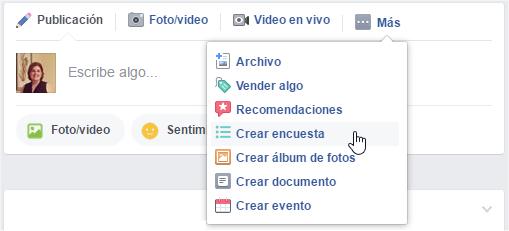 Crear encuesta en un grupo de Facebook