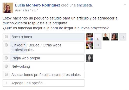Encuesta activa en grupo de Facebook