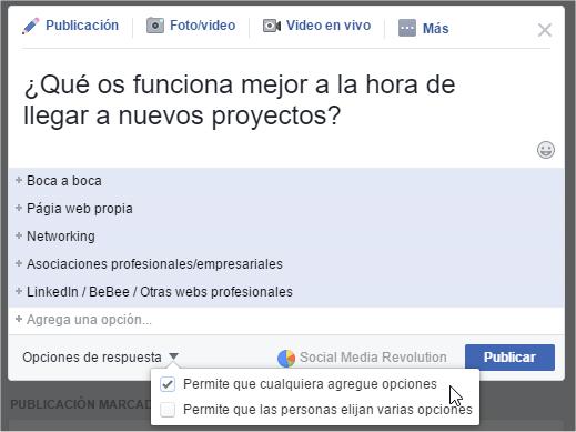 Respuestas y opciones para encuestas en Facebook