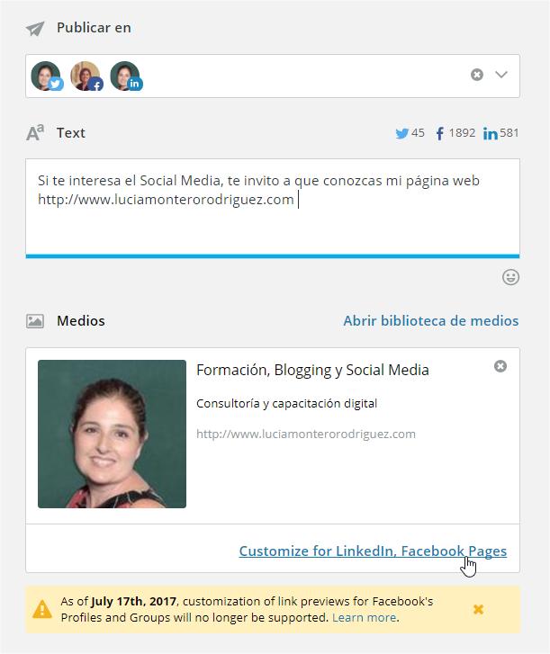 Personalización de enlaces desde la caja de redacción de Hootsuite