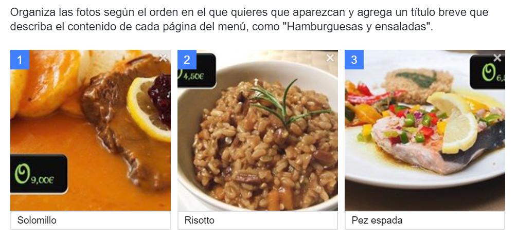 Menú para Facebook con fotos