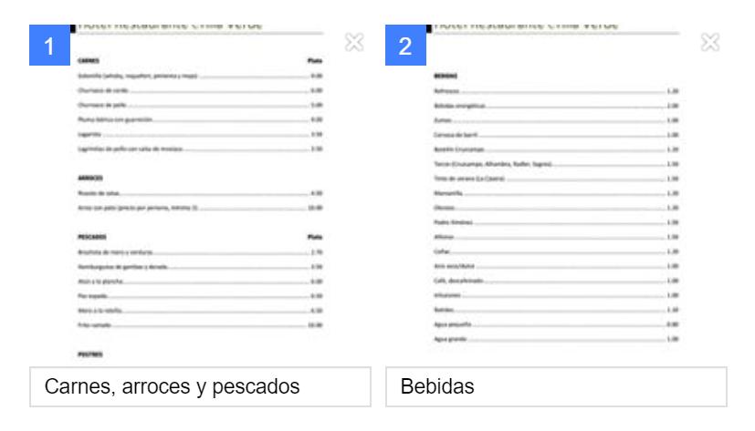 Menú para Facebook en PDF