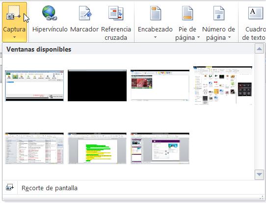 Opciones para una captura de pantalla en Word o PowerPoint