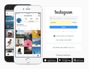 Acceso a la web de Instagram