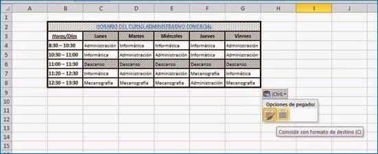 Resultado en Excel al copiar una tabla con una celda combinada desde Word