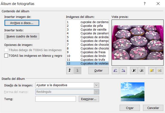 Albúm de fotografías de PowerPoint