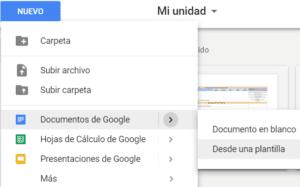 Opciones para crear documentos desde Google Drive