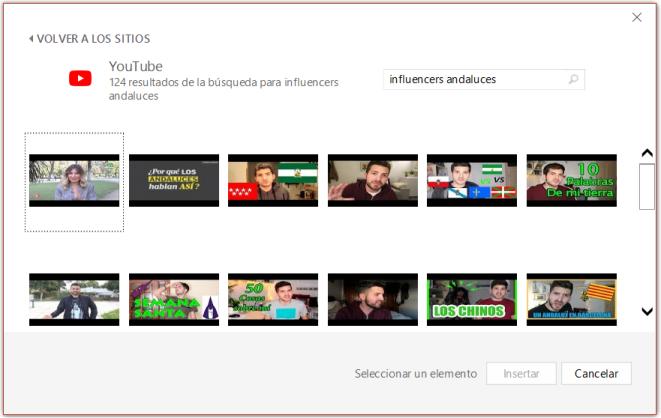 Buscando vídeos en YouTube desde PowerPoint
