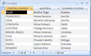 Consulta SQL entre tablas relacionadas mediante WHERE