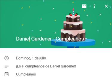 Google Calendar te avisa de los próximos cumpleaños
