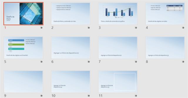 Ejemplo de plantilla de contenido en PowerPoint