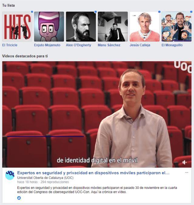 Propuestas de Facebook Watch en base a tus características