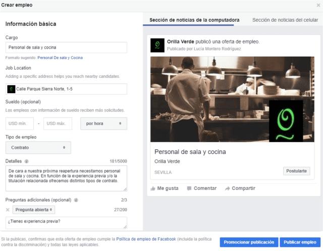 Cómo crear una oferta de empleo en Facebook