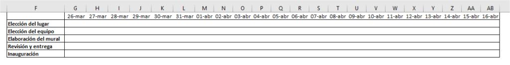 Cuadrícula para gráfico de Gantt mediante formato condicional