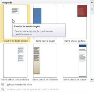 Opciones de cuadro de texto en Word